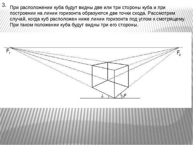 3. При расположении куба будут видны две или три стороны куба и при построени...