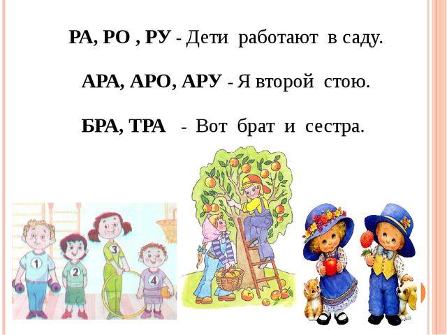 РА, РО , РУ - Дети работают в саду. АРА, АРО, АРУ - Я второй стою. БРА, ТРА...