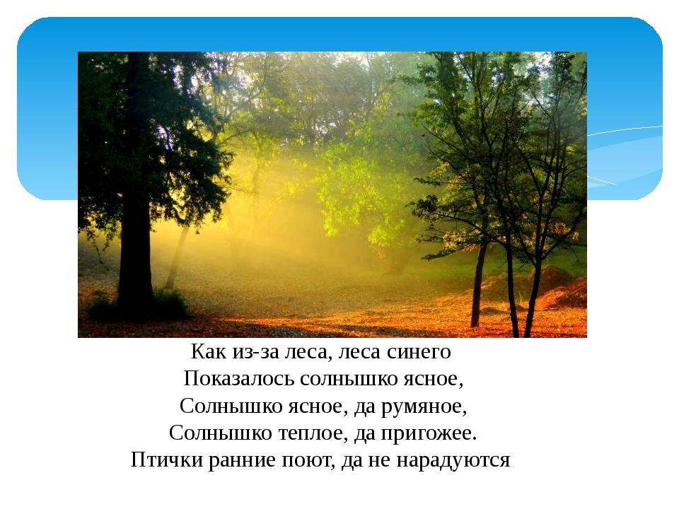 Как из-за леса, леса синего Показалось солнышко ясное, Солнышко ясное, да рум...