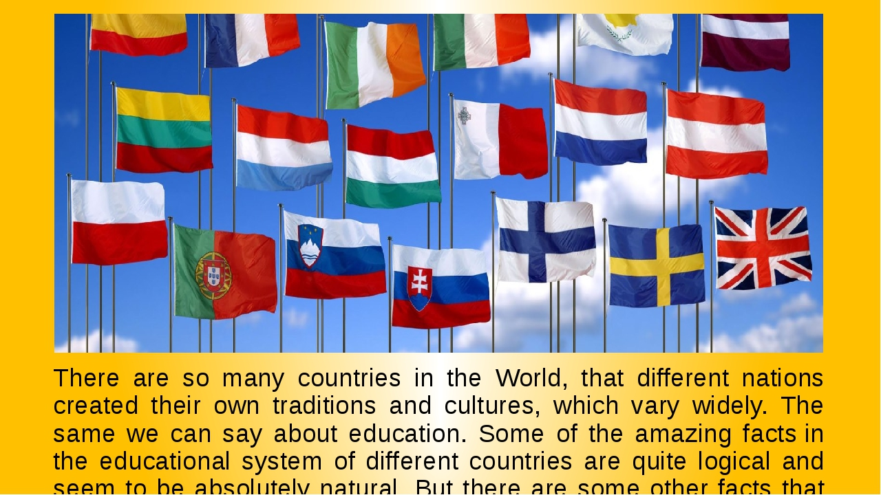 There are so many countries in the World, that different nations created thei...