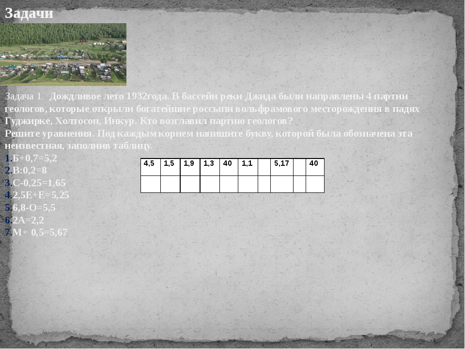 Задачи Задача 1. Дождливое лето 1932года. В бассейн реки Джида были направлен...