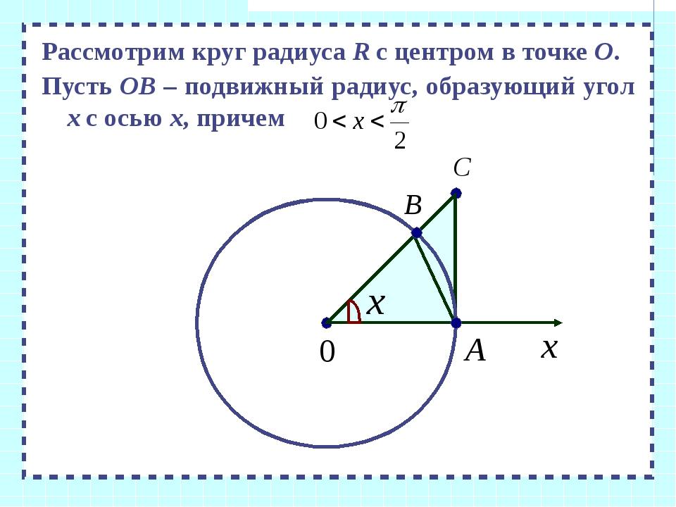 Рассмотрим круг радиуса R с центром в точке О. Пусть ОВ – подвижный радиус,...
