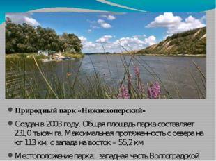 Природный парк «Нижнехоперский» Создан в 2003 году. Общая площадь парка сост