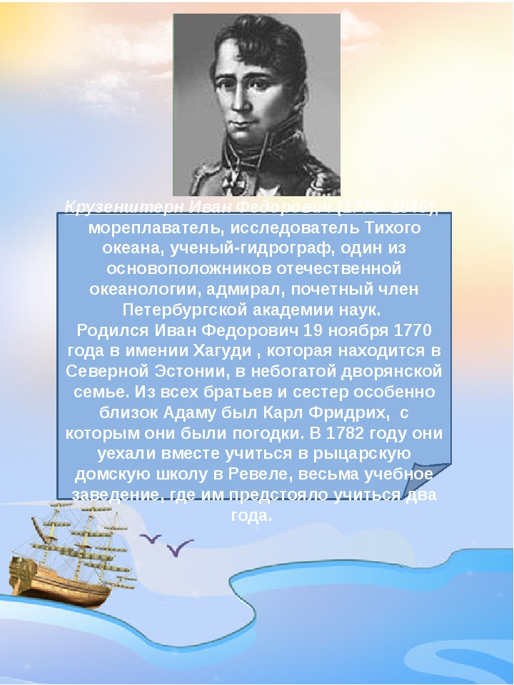 Крузенштерн Иван Федорович(1770–1846), мореплаватель, исследователь Тихого...