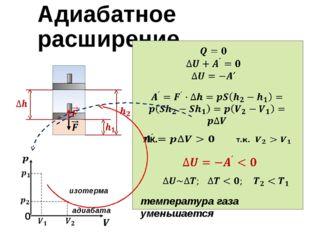 Адиабатное расширение 0 изотерма адиабата температура газа уменьшается