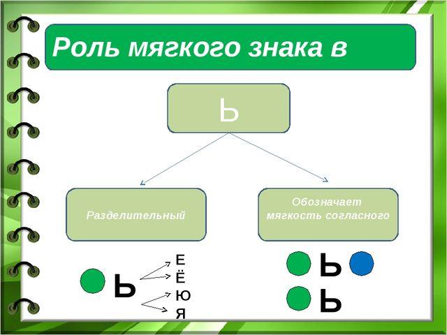 Роль мягкого знака в словах Ь Разделительный Обозначает мягкость согласного Ь...