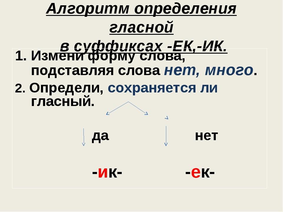 Алгоритм определения гласной в суффиксах -ЕК,-ИК. Измени форму слова, подстав...