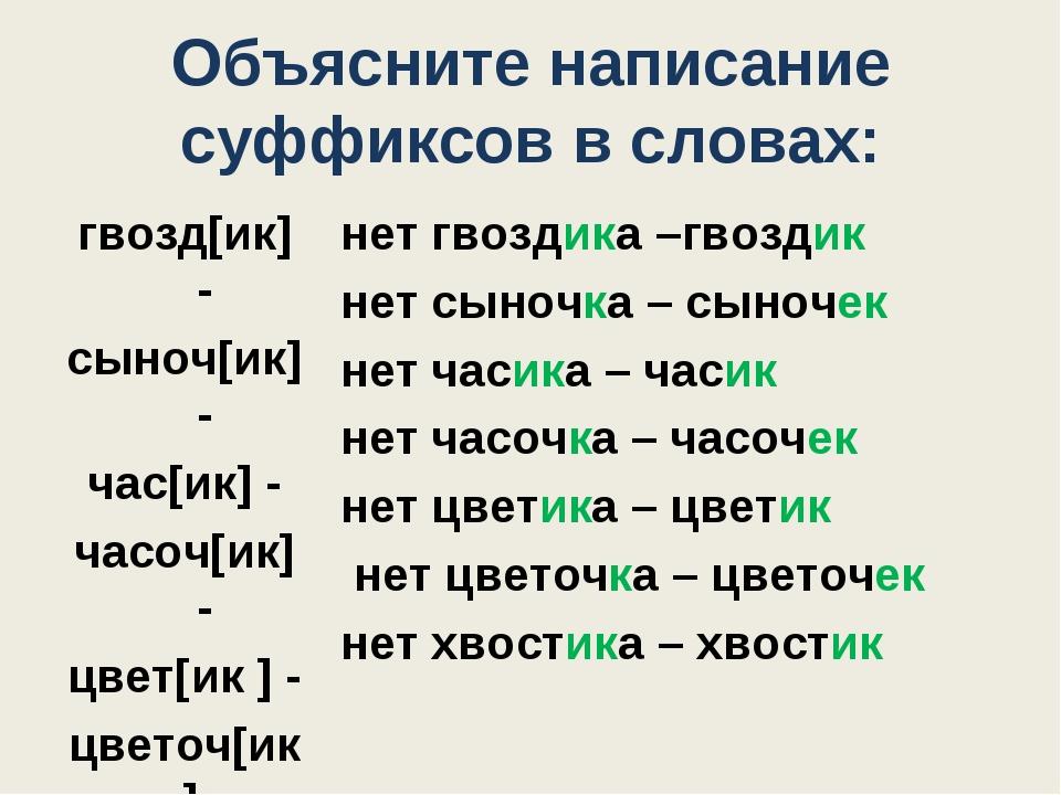 Объясните написание суффиксов в словах: гвозд[ик] - cыноч[ик] - час[ик] - час...
