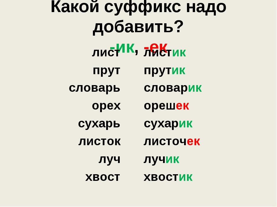 Какой суффикс надо добавить? -ик, -ек лист прут словарь орех сухарь листок лу...