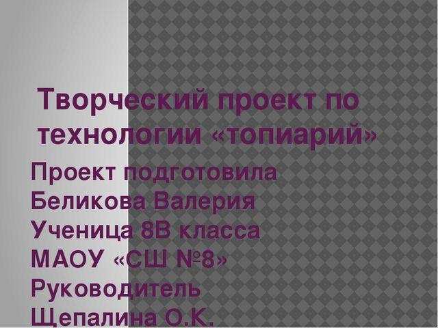 Творческий проект по технологии «топиарий» Проект подготовила Беликова Валери...