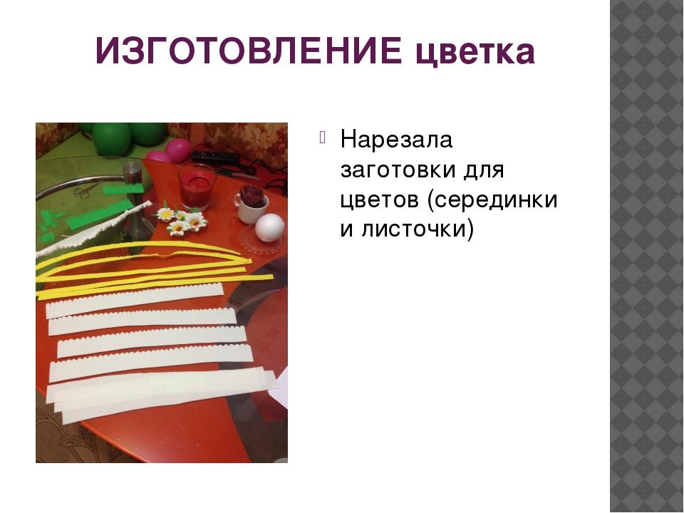 ИЗГОТОВЛЕНИЕ цветка Нарезала заготовки для цветов (серединки и листочки)