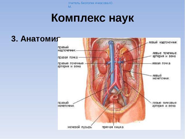 Комплекс наук 3. Анатомия Учитель биологии Ачкасова Ю. М.