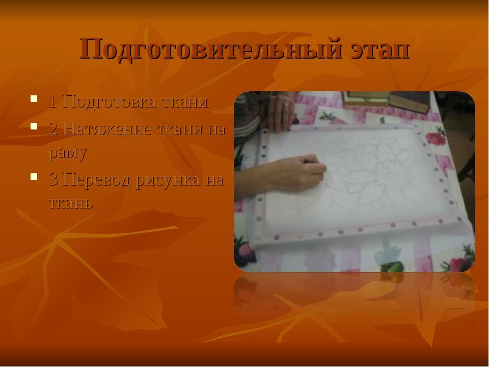 Подготовительный этап 1 Подготовка ткани. 2 Натяжение ткани на раму 3 Перевод...