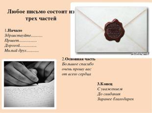 Любое письмо состоит из трех частей 1.Начало Здравствуйте........... Привет.