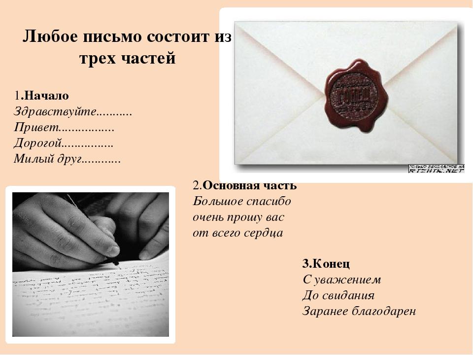 Любое письмо состоит из трех частей 1.Начало Здравствуйте........... Привет....