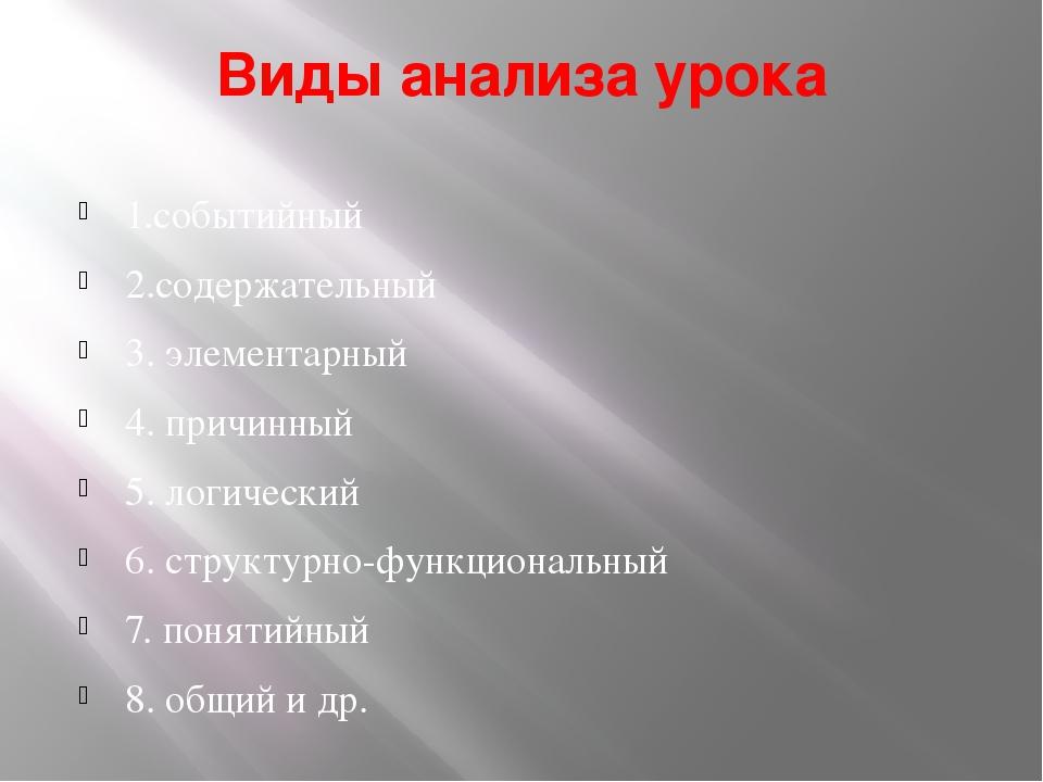 Виды анализа урока 1.событийный 2.содержательный 3. элементарный 4. причинный...