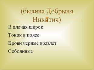В плечах широк Тонок в поясе Брови черные вразлет Соболиные (былина Добрыня Н