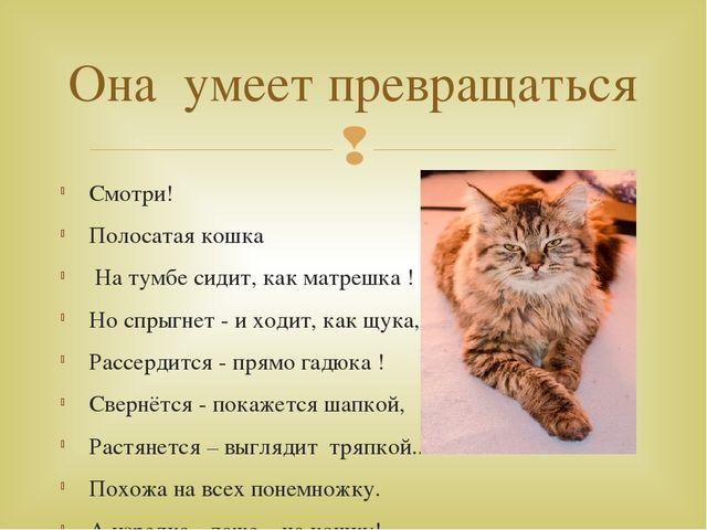 Смотри! Полосатая кошка На тумбе сидит, как матрешка ! Но спрыгнет - и ходит,...