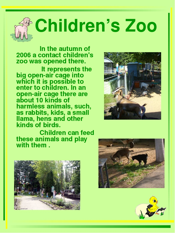 Children's Zoo 	In the autumn of 2006 a contact children's zoo was opened th...