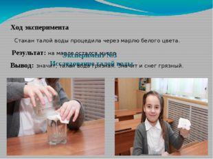 Эксперимент №3 Исследование талой воды. Ход эксперимента Стакан талой воды п