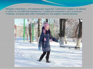Каждая снежинка – это маленькая льдинка! Снежинки падают на землю и лежат в с