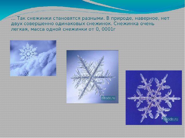 … Так снежинки становятся разными. В природе, наверное, нет двух совершенно о...