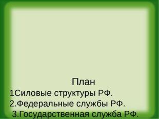 План 1Силовые структуры РФ. 2.Федеральные службы РФ. 3.Государственная служб