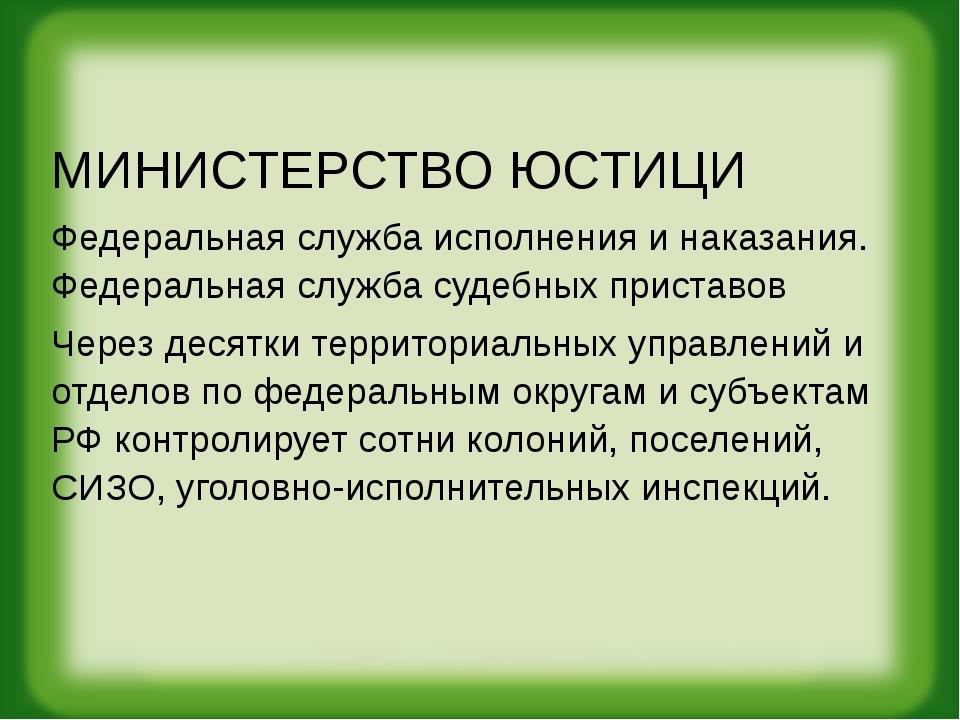 МИНИСТЕРСТВО ЮСТИЦИ Федеральная служба исполнения и наказания. Федеральная сл...