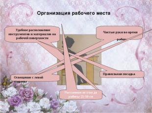 Организация рабочего места Удобное расположение инструментов и материалов на