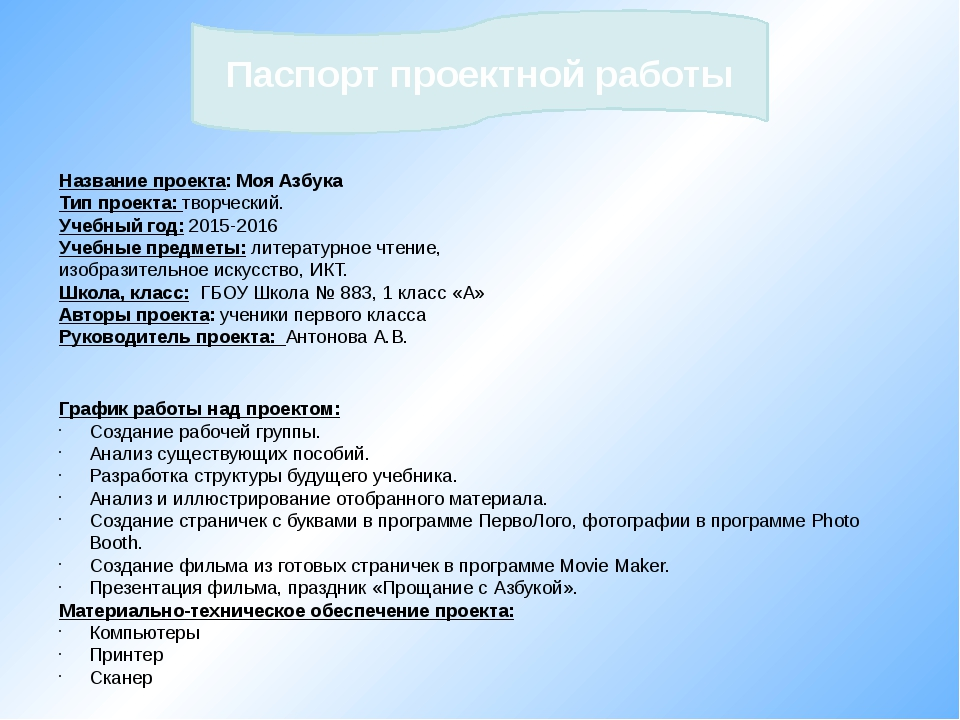 Название проекта: Моя Азбука Тип проекта: творческий. Учебный год: 2015-2016...