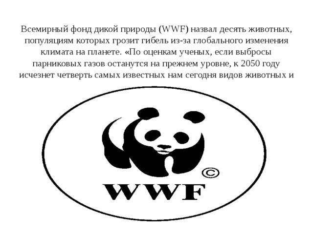 Всемирный фонд дикой природы (WWF) назвал десять животных, популяциям которы...