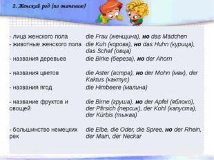 2. Женский род (по значению) - лицаженскогопола dieFrau(женщина),ноdasMädch