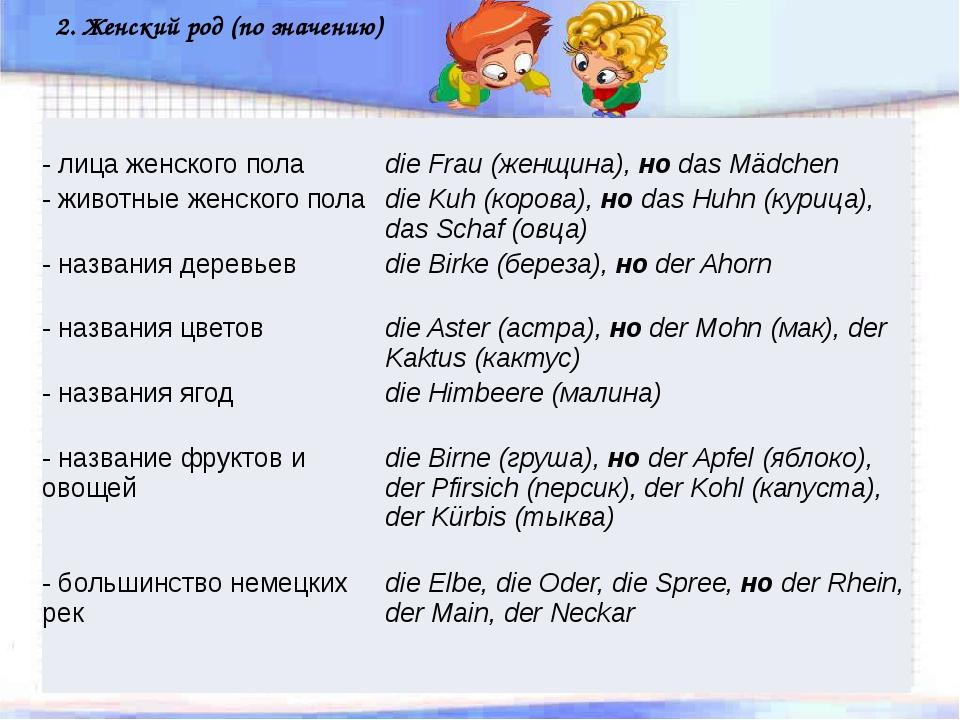 2. Женский род (по значению) - лицаженскогопола dieFrau(женщина),ноdasMädch...