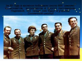За 52 года в космосе побывало около 600 землян- космонавтов, астронавтов и пр