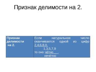Признак делимости на 2. Признак делимости на 2. Если натуральное число оканчи