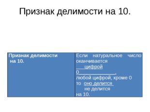 Признак делимости на 10. Признак делимости на 10. Если натуральное число окан