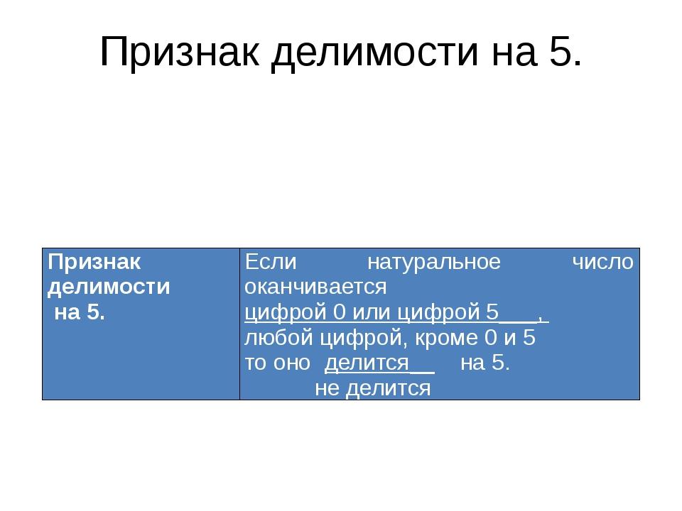 Признак делимости на 5. Признак делимости на 5. Если натуральное число оканчи...