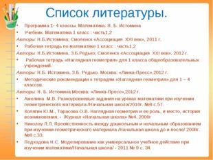 Список литературы. Программа 1- 4 классы. Математика. Н. Б. Истомина Учебник.