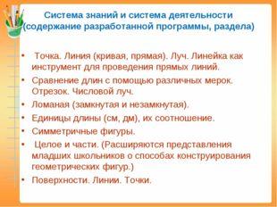 Система знаний и система деятельности (содержание разработанной программы, ра