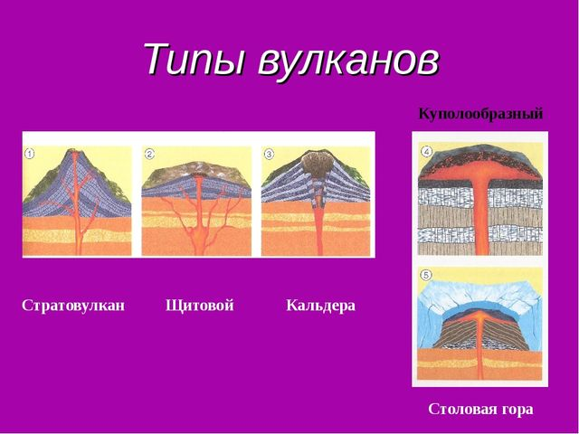 Типы вулканов Стратовулкан Щитовой Кальдера Столовая гора Куполообразный
