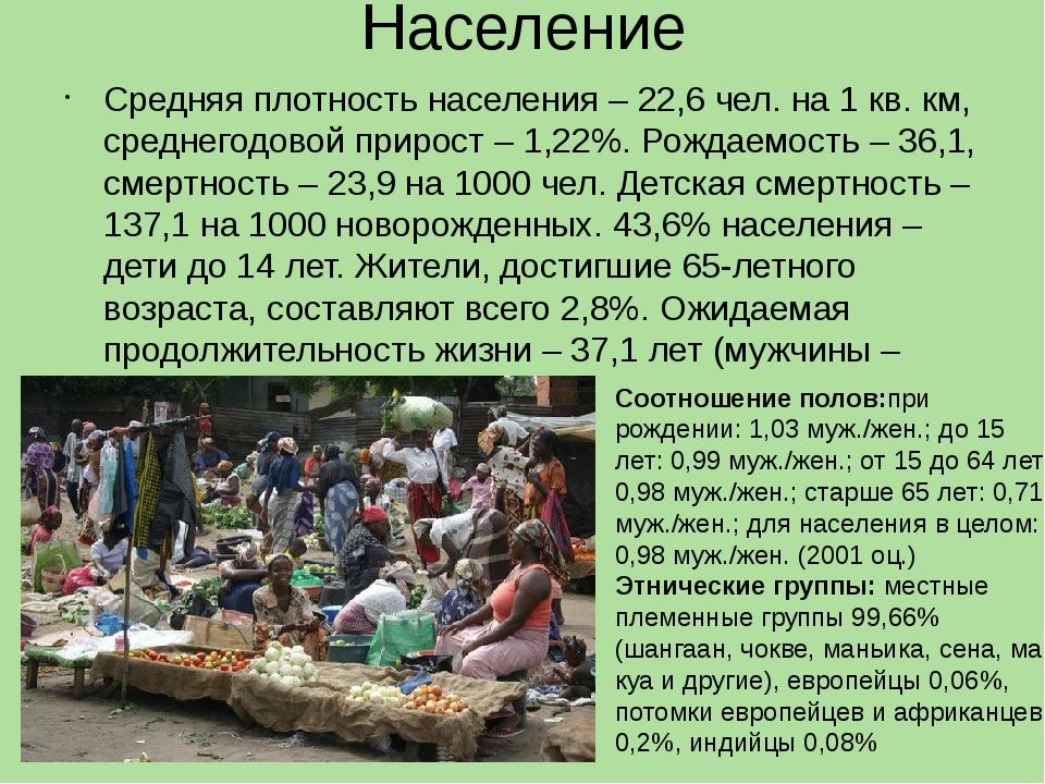 Население Средняя плотность населения – 22,6 чел. на 1 кв. км, среднегодовой...