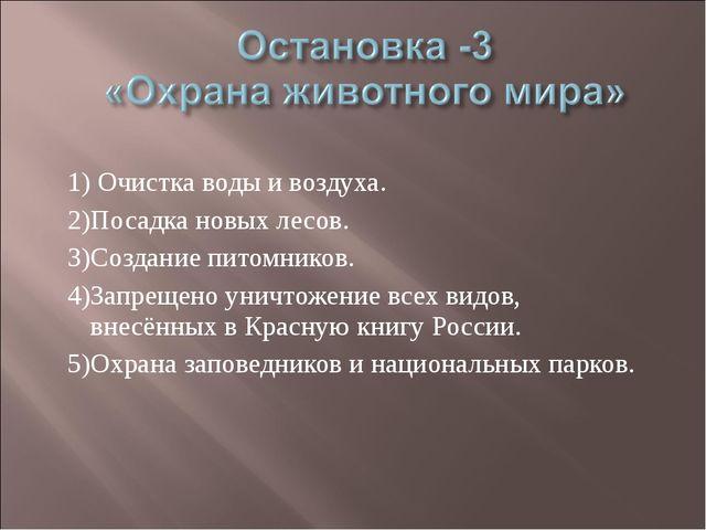 1) Очистка воды и воздуха. 2)Посадка новых лесов. 3)Создание питомников. 4)За...