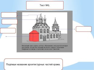 Тест №3. Подпиши название архитектурных частей храма.