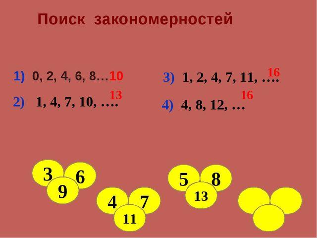 Поиск закономерностей 1) 0, 2, 4, 6, 8…10 2) 1, 4, 7, 10, …. 13 3) 1, 2, 4,...