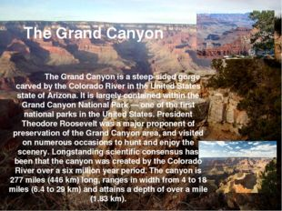 The Grand Canyon is a steep-sided gorge carved by the Colorado River in the