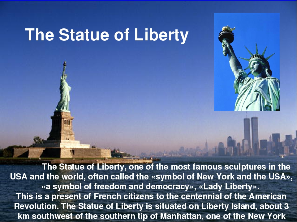 The Statue of Liberty, one of the most famous sculptures in the USA and the...