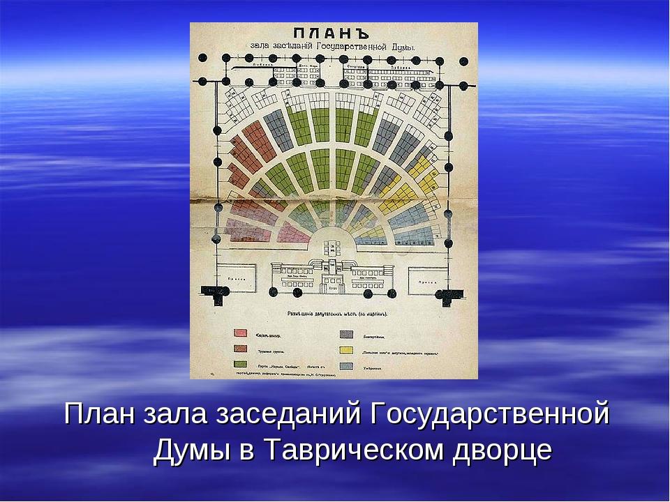 План зала заседаний Государственной Думы в Таврическом дворце