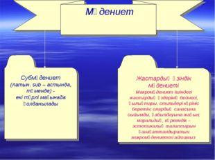Мәдениет Субмәдениет (латын. sub – астында, төменде) - екі түрлі мағынада қо