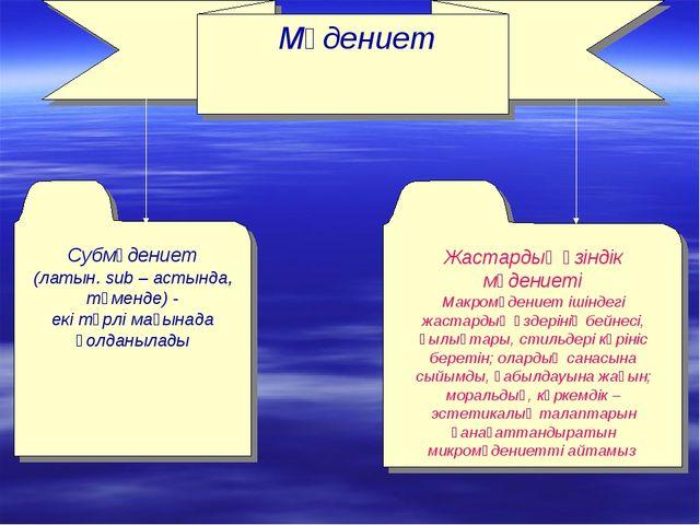 Мәдениет Субмәдениет (латын. sub – астында, төменде) - екі түрлі мағынада қо...