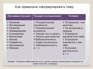 Как правильно сформулировать тему: Пример: «Развитие наблюдательности у детей